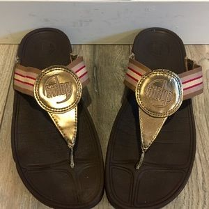 FIT-FLOP  Gold Striped Canvas Ladies size 9